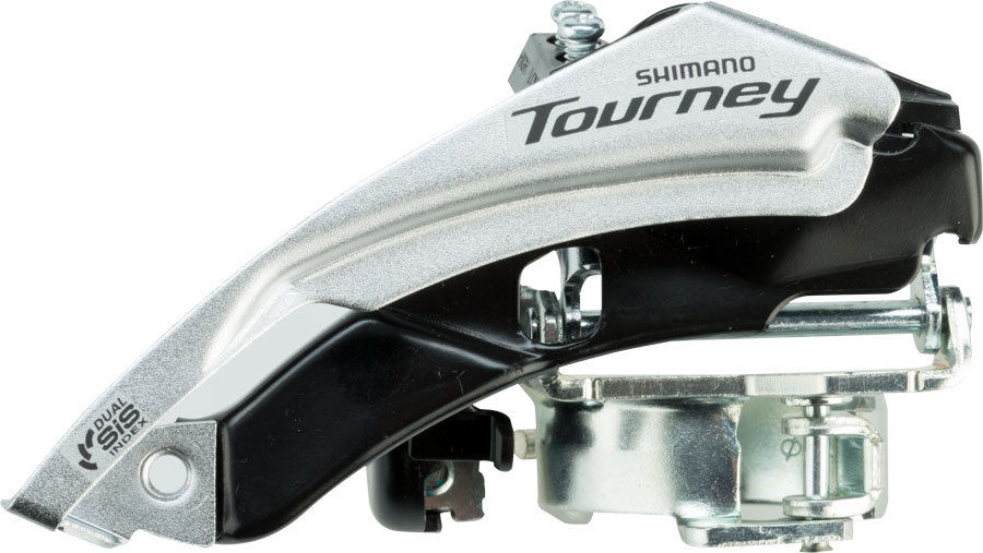 "Shimano Tourney front derailleur - Top/Bottom Pull - 34.9 (1-3/8"")/28.6 (1-1/8"")"