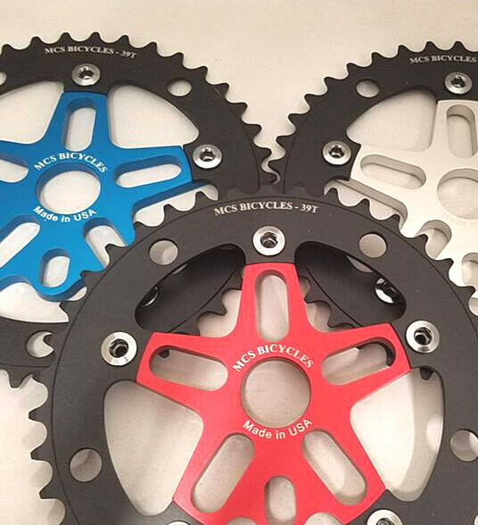 MCS BMX 39T Aluminum Spider and Chainring Combo - Blue - USA Made