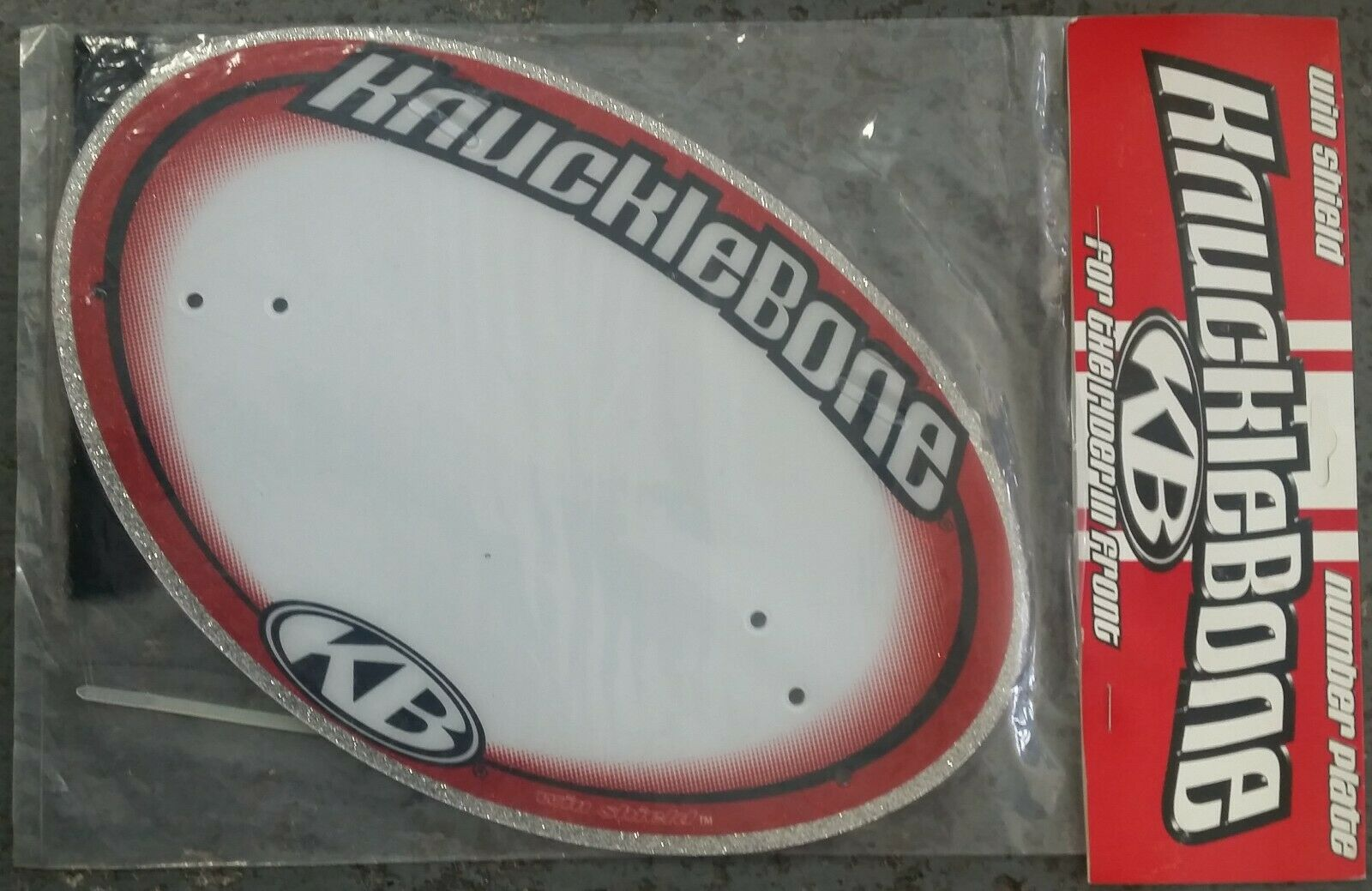 "NOS Knucklebone ""Win Shield"" Pro BMX Number Plate - Glitter Silver & Red"