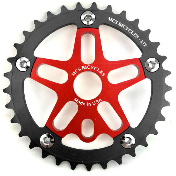 MCS BMX Aluminum Spider and Chainring combo - 33T - Red - USA Made
