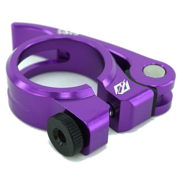 Purple Alloy Seat Post Clamp 25.4  W//Quick Release bicycle SEAT post clamp QR