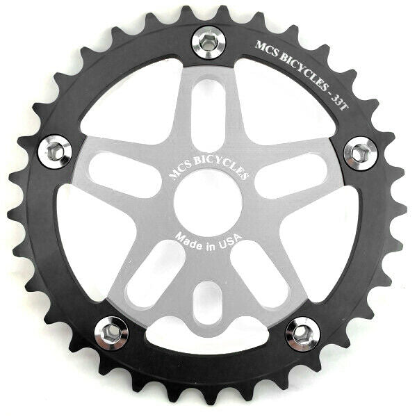 MCS BMX 33T Aluminum Spider and Chainring combo - Silver - USA Made