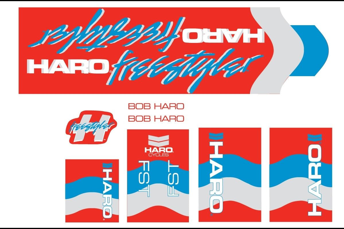 Haro 1985 FST BMX Decal Set for Frame + Fork - Red