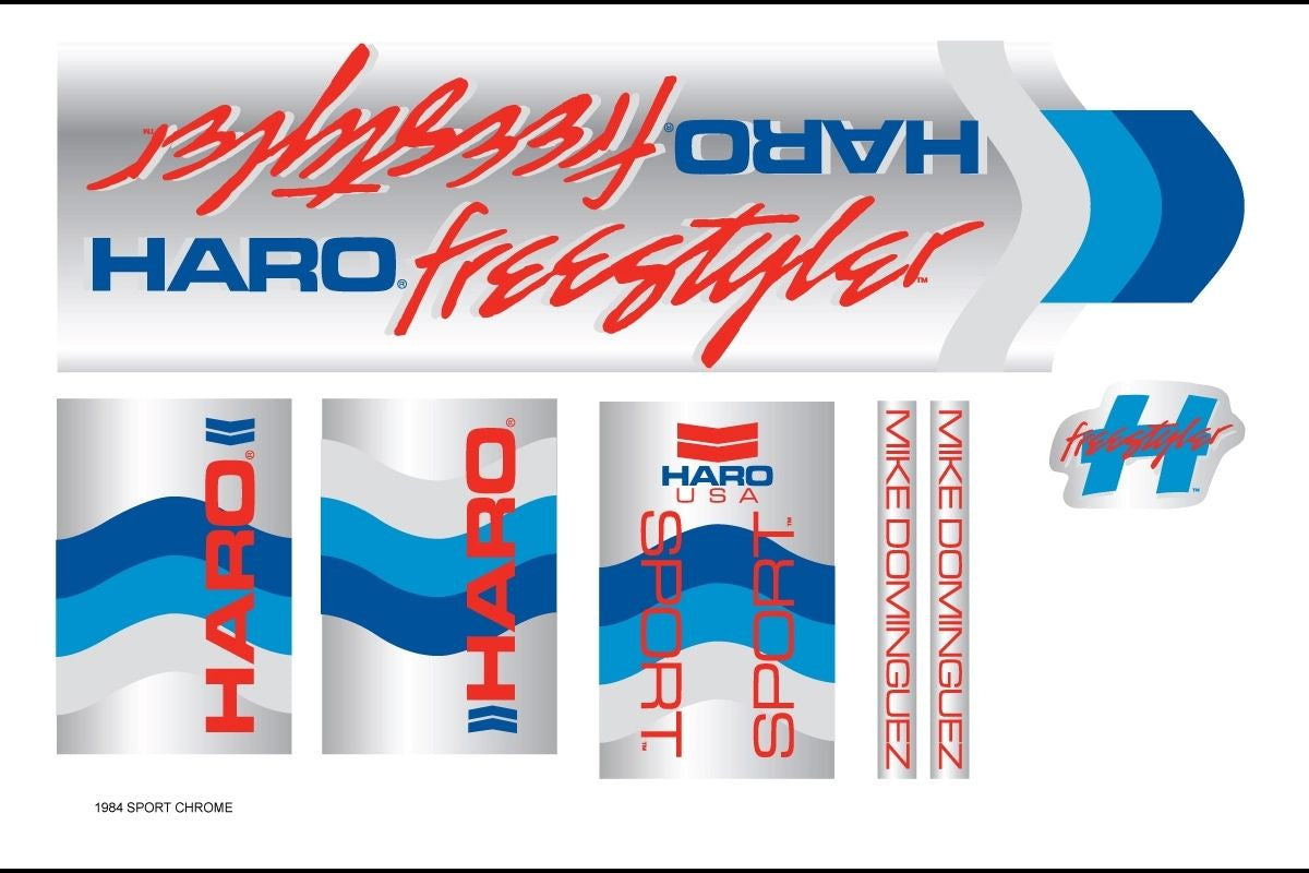 Haro 1984 Sport BMX Decal Set for Frame + Fork - Chrome