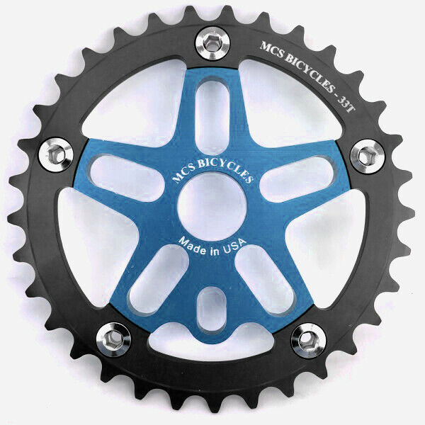 MCS BMX 33T Aluminum Spider and Chainring combo - Blue - USA Made