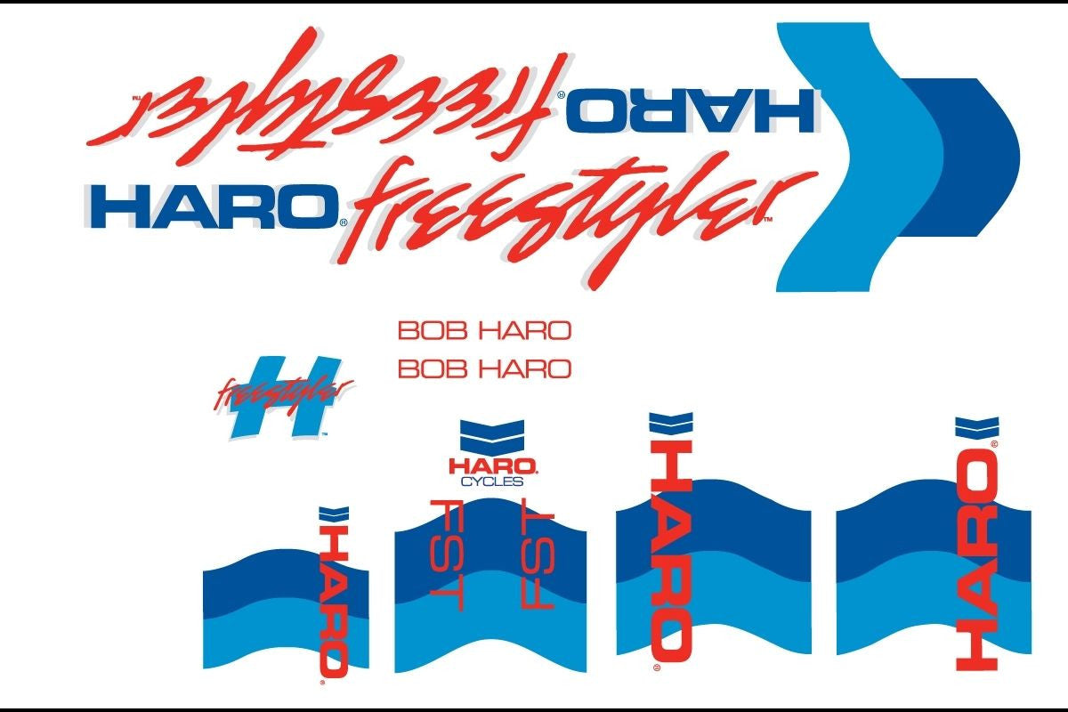 Haro 1985 FST BMX Decal Set for Frame + Fork - White/Blue
