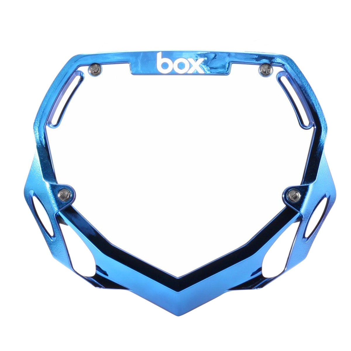 Box Two Pro BMX Number Plate - Blue Chrome + White