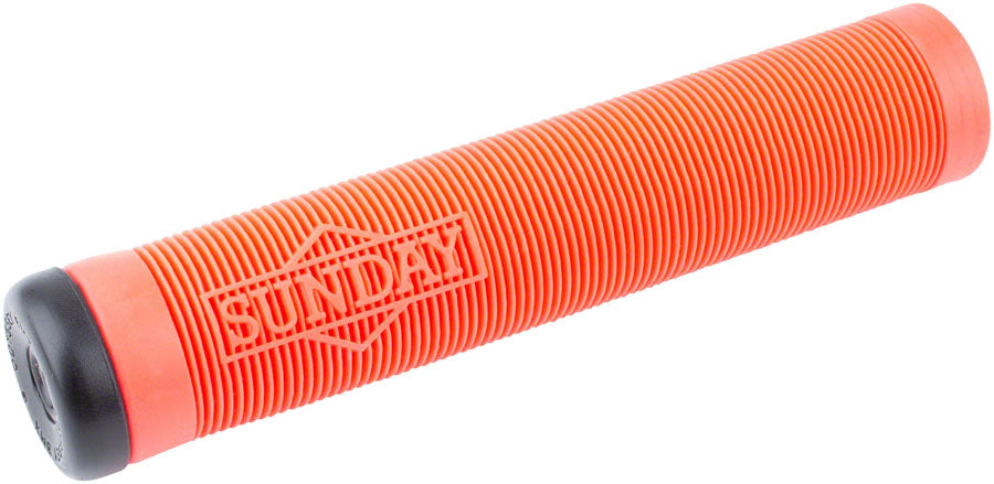 Sunday BMX  Cornerstone Grips w/ Bar Ends - Flangeless - Bright Red