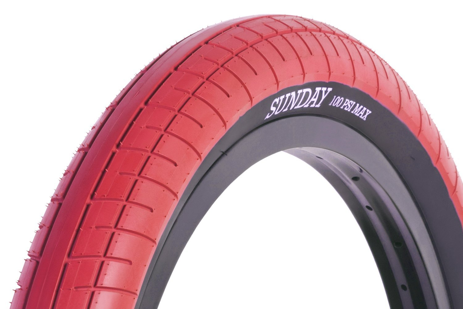 20x2.40 Sunday BMX Street Sweeper Tire - 100psi - Red w/ Black Sidewall