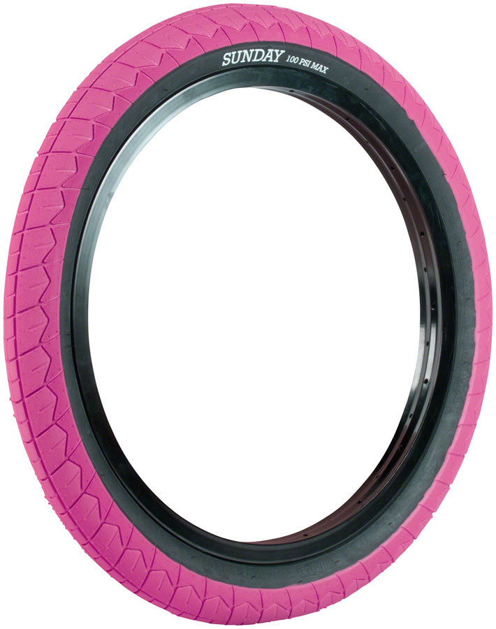 20x2.40 Sunday BMX Current V2 Tire - 100 psi - Pink w/ Black Sidewall
