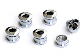 Chrome BMX Single Chainring Bolts - Set of 5-bolts