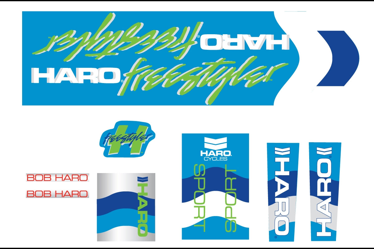 Haro 1985 Sport BMX Decal Set for Frame + Fork - Blue