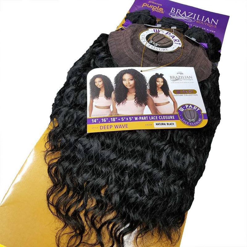 "OUTRE CLIP-IN HAIR EXTENTIONS Outre Brazilian Boutique Bundle Hair - 14"" 16"" 18"" + 5"" x 5"" W-Part Lace Closure"