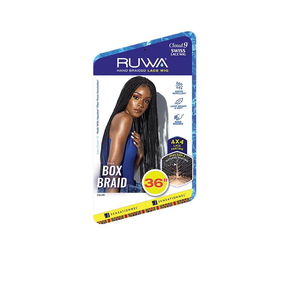 SENSATIONNEL Synthetic Lace Front Wig Sensationnel Cloud 9 Ruwa Synthetic Hand Braided Lace Wig - Box Braid 36""
