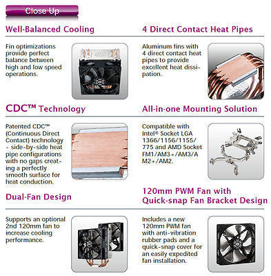 COOLER MASTER Hyper 212 EVO Continuous Direct Contact w/ 120mm Sleeve CPU cooler