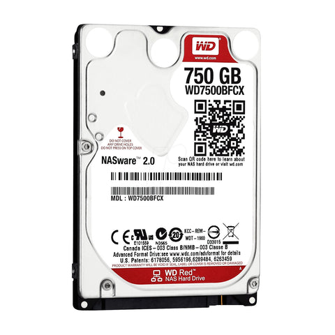 WD Red 750GB WD7500BFCX IntelliPower SATA 6.0Gb/s NAS Notebook Hard Drive - OEM