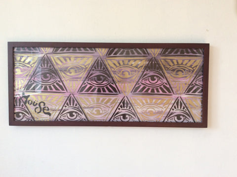 ALL SEEING EYE ON FRAMED CANVAS WITH GLASS