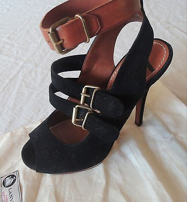 LANVIN BLACK SUEDE BUCKLE PEEPTOE PLATFORMS / BOOTIES (WICKED HOT!) 38
