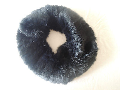 ~AUTHENTIC YVES SALOMAN BLACK KNITED RABBIT FUR CIRCLE SCARF (OH SO LUXE!) ~ 34