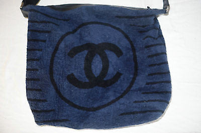 CHANEL NAVY & BLACK TERRY CLOTH BEACH TOWEL TOTE BAG
