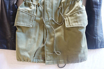~ VEDA ARMY GREEN LEATHER SLEEVE JASPER MILITARY JACKET (COOL-GIRL STAPLE!) S