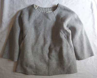 ~ NWT $595 M. PATMOS GRAY CABLE KNIT CROPPED SWEATER (OH SO COOL!) ~ XS