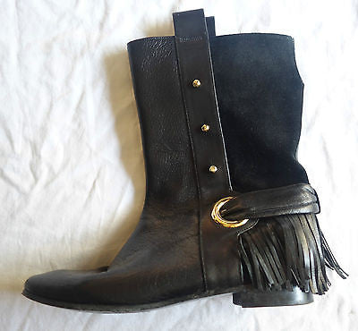 ~ SIGERSON MORRISON BLACK SUEDE & LEATHER FRINGE TRIM BOOTS / BOOTIES  ~  7