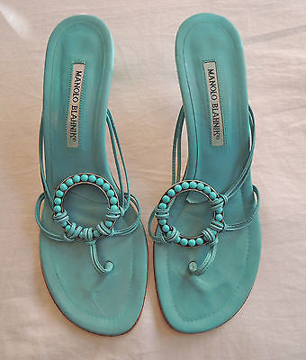 AUTHENTIC MANOLO BLAHNIK TURQUOISE LEATHER BEADED SLIDES / HEELS (SO FUN!) 39.5