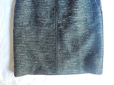 ~$1.4K J. MENDEL BLACK LEATHER & TWEED BOUCLE PENCIL SKIRT (SEXXXY) ~ US 4