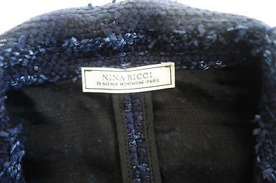 ~ NINA RICCI NAVY BOUCLE TWEED RUFFLE TRIM JACKET (FOREVER CLASSIC!) ~ 40
