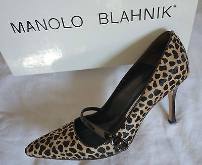 ~AUTH MANOLO BLAHNIK LEOPARD PONY MARY JANE PUMPS /  HEELS (CLASSIC!)~ 38.5