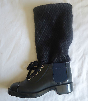 CHANEL NAVY KNIT CHAIN TRIM COMBAT LACE UP BOOTS / BOOTIES (SO SOLD OUT!) 37