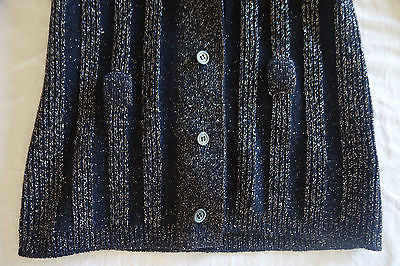 ~ MIU MIU NAVY GLIMMERY KNIT CARDIGAN SWEATER  (EVERYDAY GLAM!) ~ 42