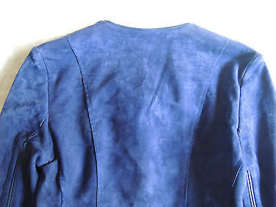 ~$2.5K BARBARA BUI BLUE SUEDE LEATHER CROPPED JACKET (COOL-GIRL STAPLE!) 40