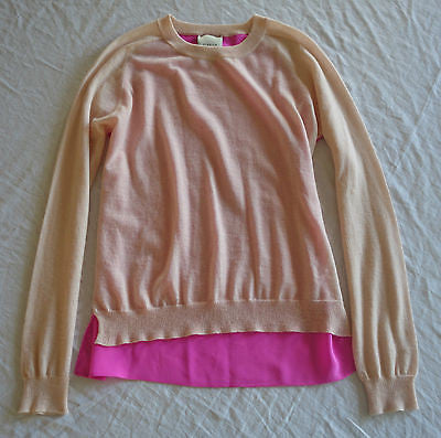 ~ MASON TWO TONE HOT PINK CASHMERE & SILK CONTRAST SWEATER (COOL MEETS LUXE!) XS