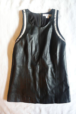 HELMUT LANG BLACK LEATHER & SNAKESKIN SLEEVELESS TOP