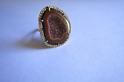 KIMBERLY MCDONALD AGATE GEODE & DIAMOND ENCRUSTED 18K GOLD RING
