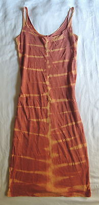 ~ RAQUEL ALLEGRA ORANGE TIE DYE STRETCH COTTON TANK DRESS (BOHO COOL) 0 / XS