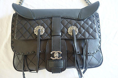 AUTHENTIC NEW CHANEL BLACK LEATHER PARIS DALLAS WESTERN BAG (LIMITED EDITION!)