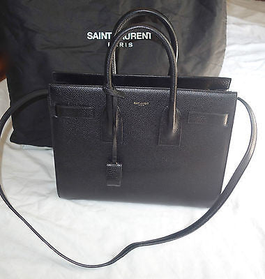 AUTHENTIC SAINT LAURENT YSL BLACK LEATHER SAC DU JOUR BAG (IT GIRL BAG!)~