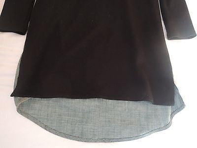 10 CROSBY DEREK LAM BLACK CHAMBRAY AND LEATHER  DRESS (DAY TO NIGHT CHIC!)~ 2
