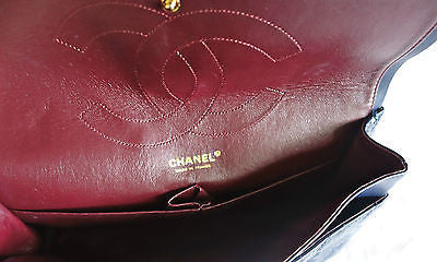 ~AUTHENTIC CHANEL NAVY QUILTED PATENT LEATHER CHAIN STRAP REISSUE BAG