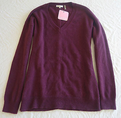 ~NWT MINNIE ROSE PLUM CASHMERE BACKWARDS BUTTON CARDIGA SWEATER (OMG)~ 36 / US 4