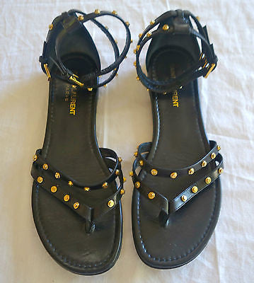 ~ SAINT LAURENT BLACK & GOLD STUDDED ANKLE STRAP FLAT SANDALS  (LOVE!)  37.5