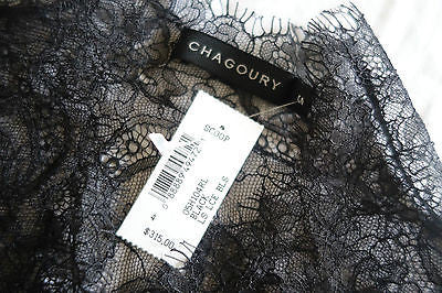 ~NWT CHAGOURY BLACK SHEER LACE BLOUSE TOP (PURE ROMANCE!)  S