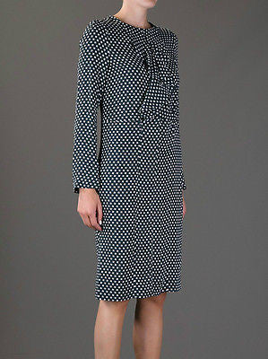 ~LIMITED EDITION MARNI HOUNDSTOOTH PRINT LONG SLEEVE RUFFLE DRESS (ADORE!) 38