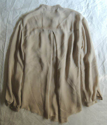 ~  RAQUEL ALLEGRA BLUSH NUDE SILK FRONT POCKET BLOUSE TOP (CASUAL CHIC!) 1 / S