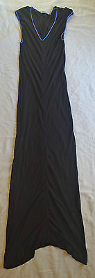~ ALEXANDER WANG BLACK & BLUE TRIM CAP SLEEVE MAXI DRESS (CASUAL COOL!)  S