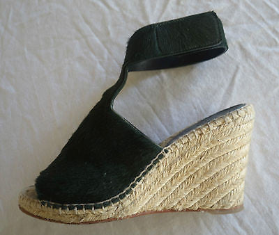 ~ CELINE EMERALD GREEN PONY & ESPADRILLE PLATFORM WEDGES (SERIOUSLY LOVE!)  37