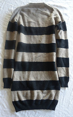 STELLA MCCARTNEY TAN & BLACK LONG SLEEVE CASHMERE WOOL DRESS ~ 36
